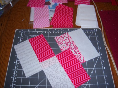 Surrounded by Love by Deb Strain Moda Valentine Day too. What can I do with these remaining pairs and scraps.