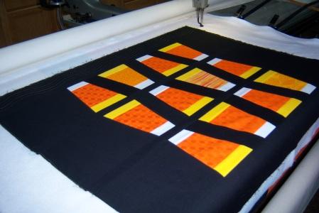 Longarm preparation for Modern Quilt Guild Season Challenge 2013
