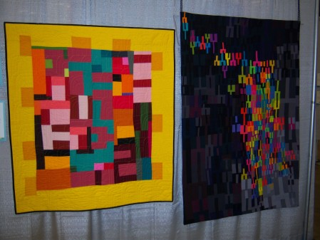 Quiltcon 2015 Use Of Negative Space - My Way by Pamela Rocco South Bay Area MQG and Tuning Fork #12 by Heather Pregger Fort Worth MQG
